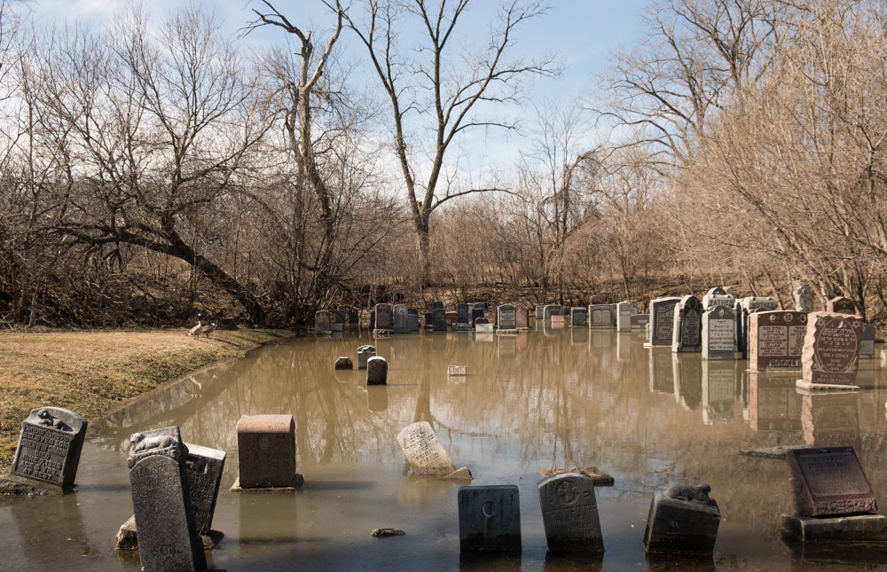 flooded tombstones